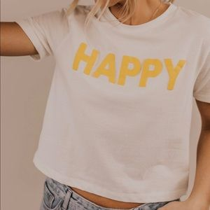 ☀️ NWOT Roolee Cropped Happy Tee